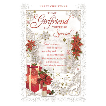 To My Girlfriend Poinsettias and Gifts Design Christmas Card