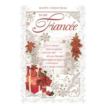 To My Fiancee Poinsettias and Gifts Design Christmas Card