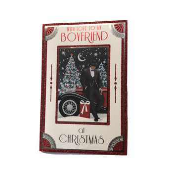 With Love To My Boyfriend Glitter Finished Christmas Card