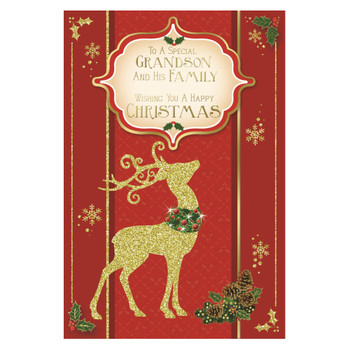 To a Special Grandson and His Family Glitter Finished Reindeer Christmas Card