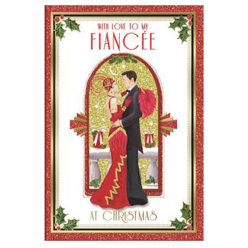 With Love To My Fiancée Beautiful Couple Christmas Card