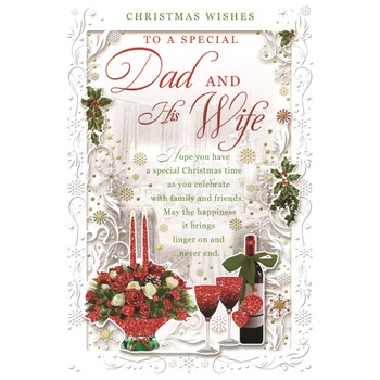 To a Special Dad and His Wife Best Wishes Classic Design Christmas Card