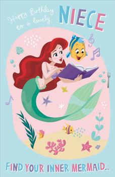 Niece Birthday Card Ariel Mermaid