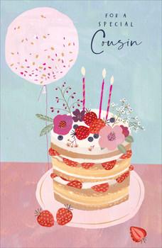 Cousin Birthday Card Cake And Balloon