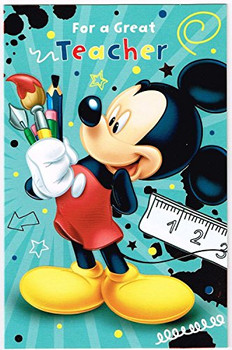 6 x Disney Mickey Mouse Thank You Teacher Greeting Cards