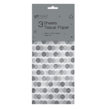 Pack of 3 Sheets Foiled Silver Spot Design Tissue Paper