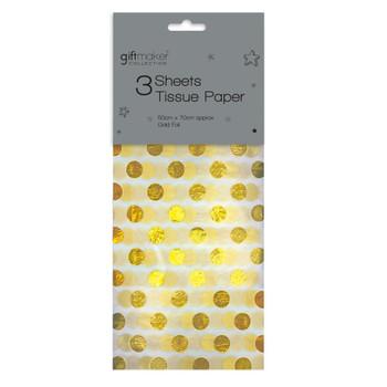 Pack of 3 Sheets Foiled Gold Spot Design Tissue Paper