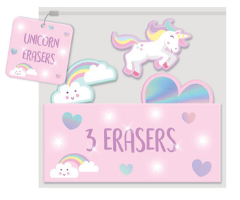 Pack of 3 Unicorn Design Erasers
