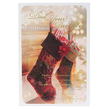 Christmas Wish for Dad and Partner Traditional Card Gold Foil