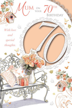 Mum On Your 70th Birthday Flower Pot Design Celebrity Style Card