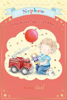 Little Boy, Red Balloon, Toy Fire Engine & Stars Nephew Birthday Card