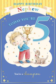 Little Boy & Dog with Trophy Nephew 5th Birthday Card