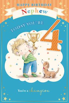 Little Boy & Bear with Trophy Nephew 4th Birthday Card