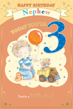 Today You're 3 Boy With Balloon Design Nephew Candy Club Birthday Card