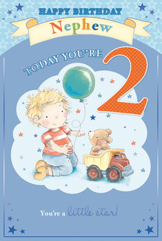 Today You're 2 Boy With Balloon Nephew Candy Club Birthday Card