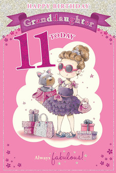 Today You're 11 Cute Little Girl At Shopping Design Granddaughter Candy Club Birthday Card