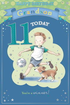 Today You're 11 Cute Little Boy Playing Football Design Grandson Candy Club Birthday Card