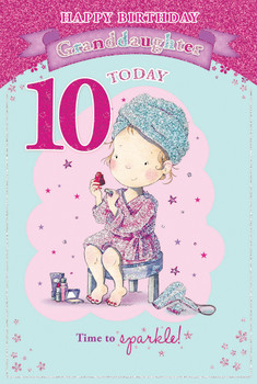 Today You're 10 Cute Little Girl Dress up Design Granddaughter Candy Club Birthday Card