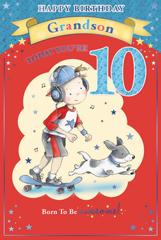 Today You're 10 Little Boy with Skateboard Design Grandson Candy Club Birthday Card