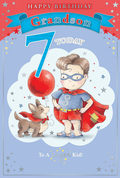 Today You're 7 Cute Superman Design Grandson Candy Club Birthday Card