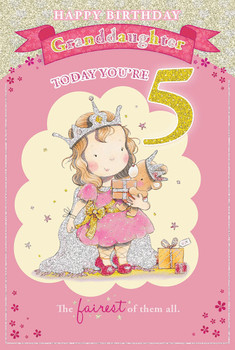Today You're 5 Little Girl and Bear Design Granddaughter Candy Club Birthday Card