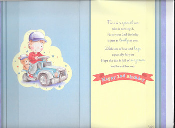 Today You're 2 Little Boy Toy Car Theme Son Candy Club Birthday Card