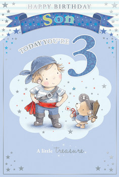 Today You're 3 Little Boy and Bear Pirate Theme Son Candy Club Birthday Card