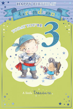 Today You're 3 Little Boy and Bear Design Grandson Candy Club Birthday Card