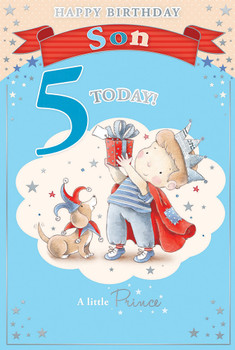 Today You're 5 Little Boy and Bear Design Son Candy Club Birthday Card