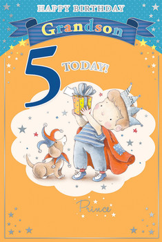 Today You're 5 Little Boy and Bear Design Grandson Candy Club Birthday Card