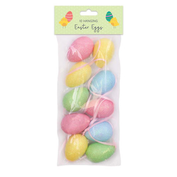 Pack of 10 Foam Hanging Easter Egg Decorations