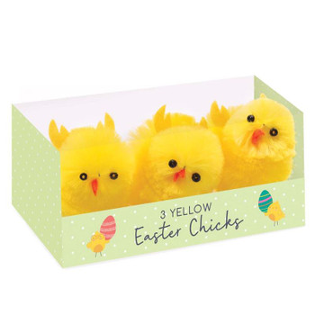 Pack of 3 Large Chenille Chick Easter Decorations