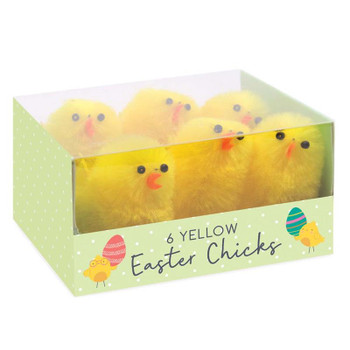 Pack of 6 Medium Chenille Chick Easter Decorations