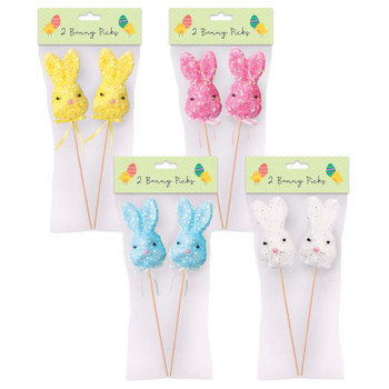 Pack of 2 Easter Bunny Pick Decorations