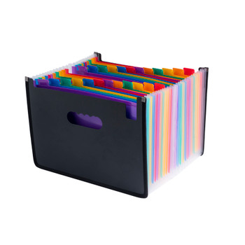 A4 Landscape Desk Expander Black Cover with 23 Assorted Coloured Pockets