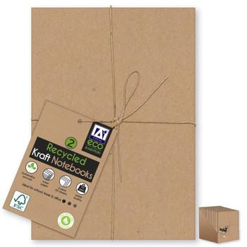 Pack of 2 A5 Recycled Kraft Softcover Notebooks