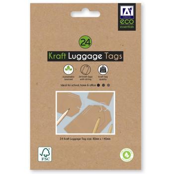 Pack of 24 Kraft Luggage Tags