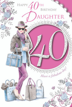 Happy 40th Birthday Daughter Lady With Shopping Bag Design Celebrity Style Card