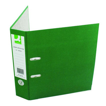 Pack of 10 A4 Green Q-Connect Paper backed Lever Arch File