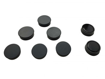 Pack of 72 Black Round Flat Magnets - 24mm Whiteboard Office Fridge - by Janrax