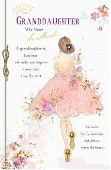 Granddaughter Birthday Card Beautiful Ladies Foil and Flitter Finish
