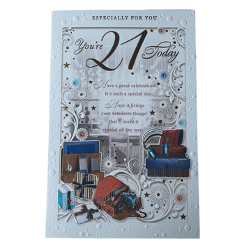 21 Today Open Male Birthday Opacity Card