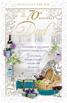 On Your 70th Birthday Dad Opacity Card