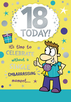 18 Today Open Male Birthday Witty Words Card