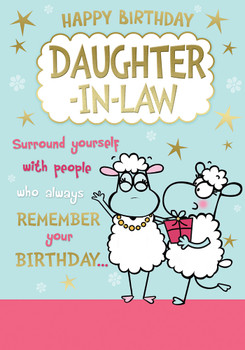 Happy Birthday Daughter In Law Cute Sheep Design Witty Words Card