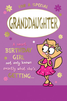 For a Special Granddaughter Cute Cat Design Birthday Witty Words Card
