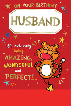On Your Birthday Husband Cute Tiger Design Witty Words Card