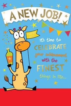 Cute Giraffe Design New Job Witty Words Card