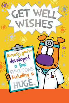 Cute Doctor Design Get Well Wishes Witty Words Card