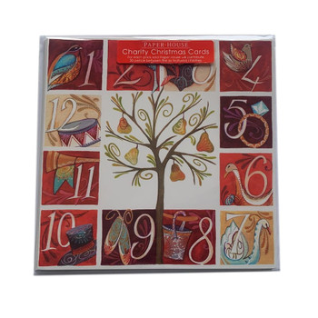 Pack of 6 'Twelfth Day of Christmas' Design Charity Christmas Cards